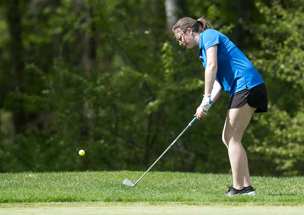 05/09/18 Wesley Bunnell | Staff Berlin girls golf vs New Britain on Wednesday afternoon at Timberlin Golf Course in Berlin. Berlin's Alena Kittleman.