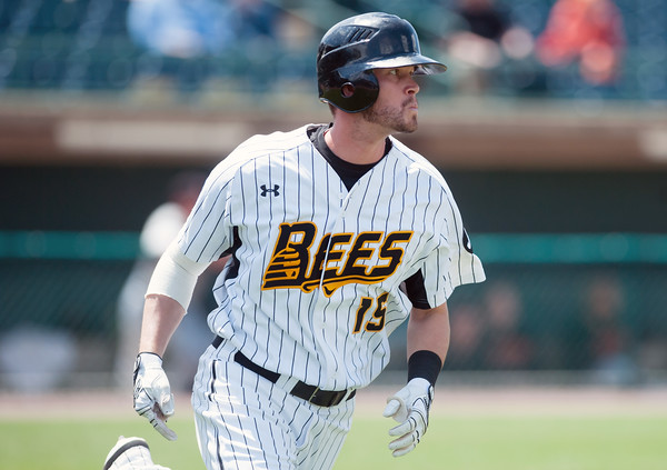05/09/18 Wesley Bunnell | Staff The New Britain Bees held a special day game with a packed crowd of area school children for their game versus the Long Island Ducks. Reid Brignac (15) runs out a grounder to first.