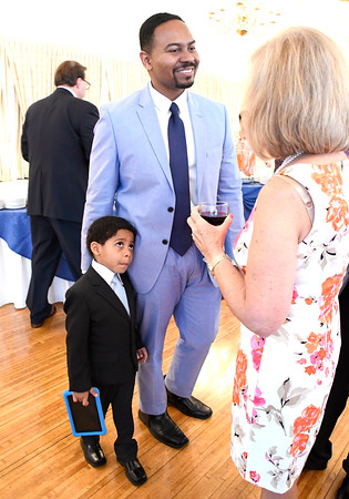 6/6/2018 Mike Orazzi | Staff Marc Henderson and his son Luke during the 129th Annual Bristol Chamber of Commerce Awards Dinner held at the Aqua Turf Club in Southington Wednesday night.