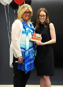 6/5/2018 Mike Orazzi   Staff ESPN Enspire Award recipient Christine Driessen and ESPN V Spirit Award winner Kathryn Davidson during the ESPN Volunteer of the Year Award Celebration held in Bristol Tuesday afternoon.