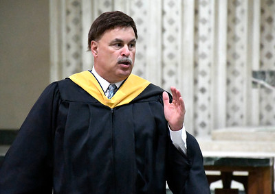 6/5/2018 Mike Orazzi | Staff St. Paul Catholic High School President Carey Dupont during Tuesday evening's commencement ceremony at the Cathedral of Saint Joseph in Hartford.
