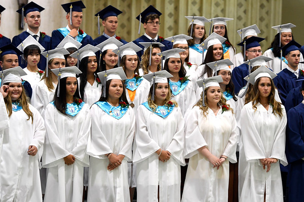 6/5/2018 Mike Orazzi | Staff St. Paul Catholic High School graduates during Tuesday evening's commencement ceremony at the Cathedral of Saint Joseph in Hartford.