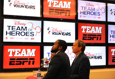 6/5/2018 Mike Orazzi | Staff ESPN commentator Treavor Scales and Kevin Martinez, vice president, corporate outreach at ESPN, during the ESPN Volunteer of the Year Award Celebration held in Bristol Tuesday afternoon.
