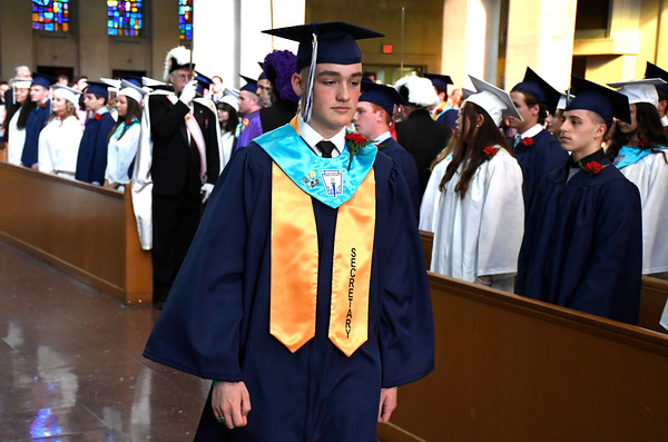 6/5/2018 Mike Orazzi | Staff St. Paul Catholic High School Class Secretary Liam Norton during Tuesday evening's commencement ceremony at the Cathedral of Saint Joseph in Hartford.