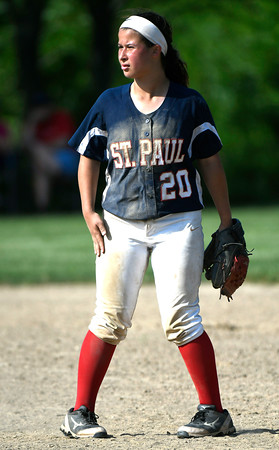 5/30/2018 Mike Orazzi | Staff St. Paul Catholic High School's Katrina Roy (20) during Wednesday's Class S Second Round Softball game in Bristol.