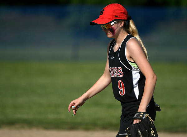 5/30/2018 Mike Orazzi | Staff Somers' Livia Nosal (9) during Wednesday's Class S Second Round Softball game in Bristol with St. Paul.