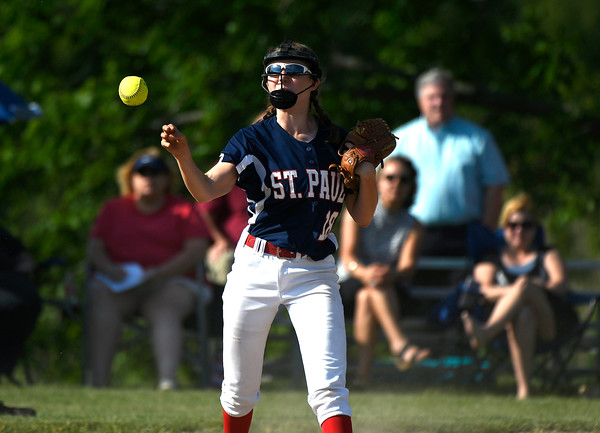 5/30/2018 Mike Orazzi | Staff St. Paul Catholic High School's Caleigh Mcdougall (18) during Wednesday's Class S Second Round Softball game in Bristol.