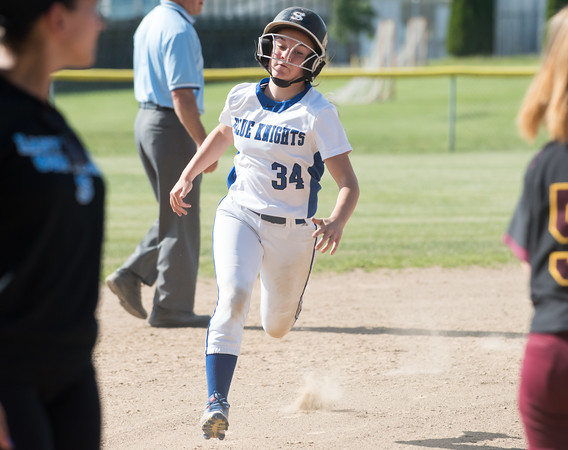 05/30/18 Wesley Bunnell | Staff Southington softball defeated New Britain 19-1 in a second round Class LL tournament game at Southington on Wednesday afternoon. Kayla Pelletier (34) heads to third base.