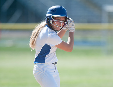 05/30/18  Wesley Bunnell | Staff  Southington softball defeated New Britain 19-1 in a second round Class LL tournament game at Southington on Wednesday afternoon. Chrissy Marotto (2) motions back to teammates after hitting a triple.