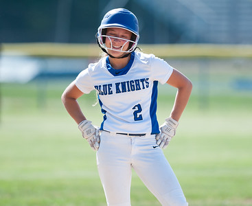 05/30/18  Wesley Bunnell | Staff  Southington softball defeated New Britain 19-1 in a second round Class LL tournament game at Southington on Wednesday afternoon. Chrissy Marotto (2) smiles after hitting a triple.