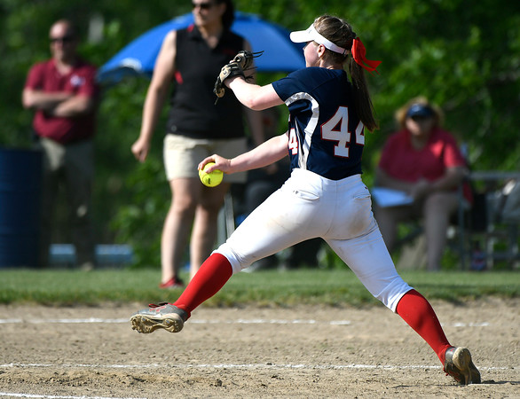 5/30/2018 Mike Orazzi | Staff St. Paul Catholic High School's Abby Poirot (44) during Wednesday's Class S Second Round Softball game with Somers in Bristol.