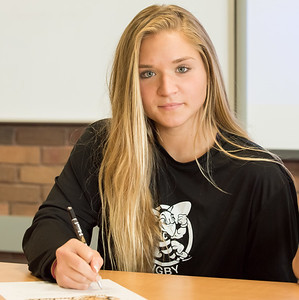 05/30/18  Wesley Bunnell | Staff  Southington rugby player Brooke Garcia signs her letter of intent on Wednesday afternoon to attend and play for American International University.