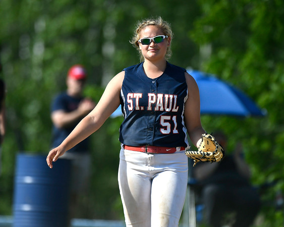 5/30/2018 Mike Orazzi | Staff St. Paul Catholic High School's Katelynn Oullette (51) during Wednesday's Class S Second Round Softball game in Bristol.