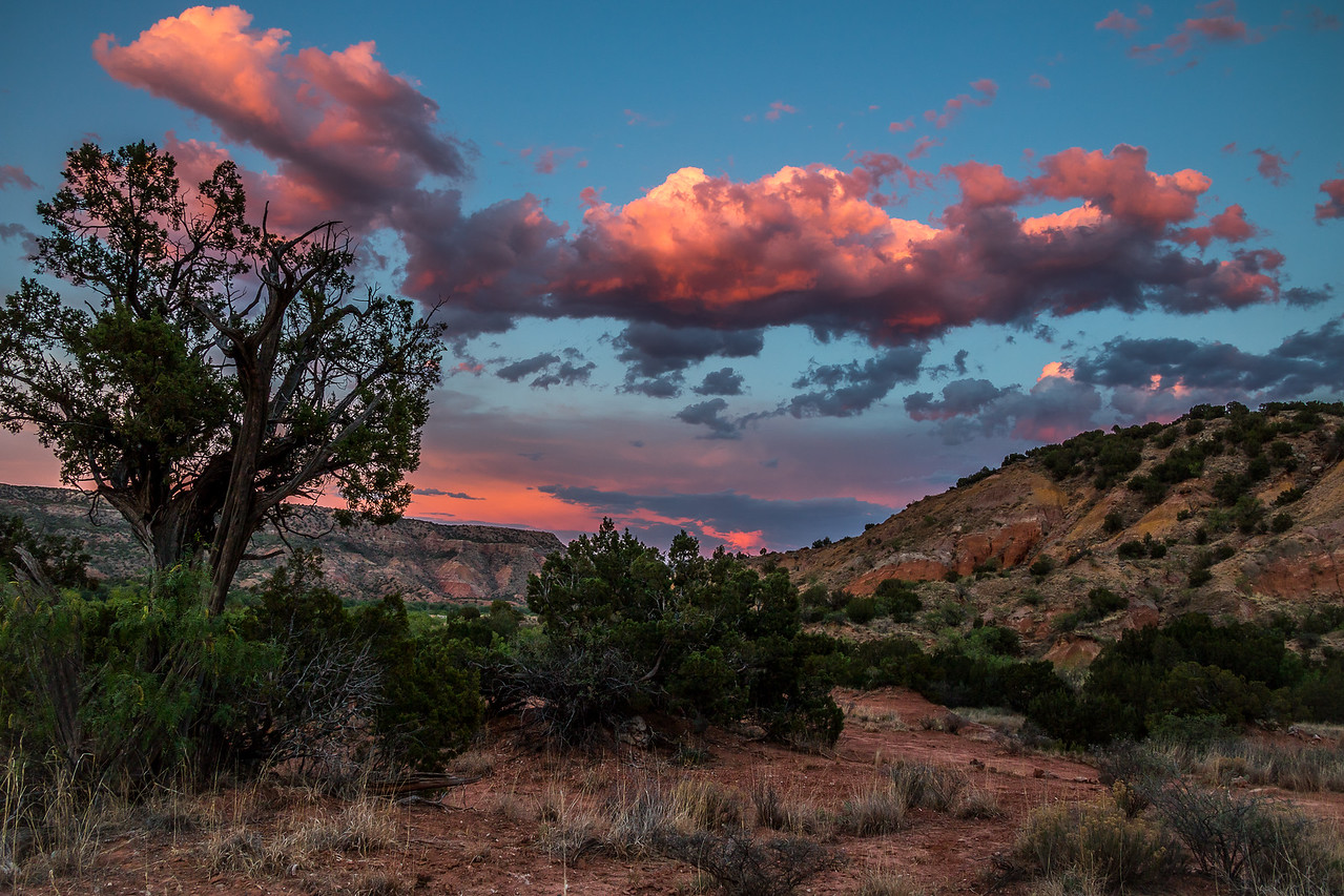Red Clouds Over Juniper Cliffside