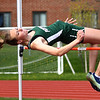 "JIM VAIKNORAS/Staff photo Pentucket's Sage Tudisco wins the high jump clearing 5'2'""at the Pentucket, Amesbury, Newburyport meet at Fuller Field Wednesday."