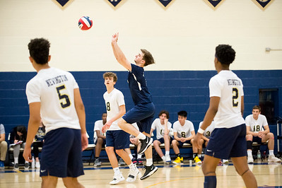 05/13/19  Wesley Bunnell | Staff  Newington boys volleyball vs Westfield MA on Monday night at Newington High School. Collin Liedke (4).