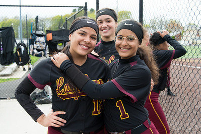 04/29/19  Wesley Bunnell | Staff  New Britain softball defeated Conard at Chesley Park on Monday afternoon. Paola Martinez (12), Valentina Hernandez (7) and Josleen Rivera (1).