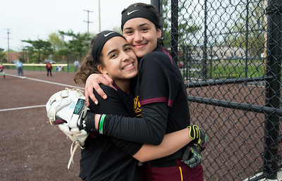 04/29/19  Wesley Bunnell | Staff  New Britain softball defeated Conard at Chesley Park on Monday afternoon. Xandra Silva (3) and Valentina Hernandez (7).