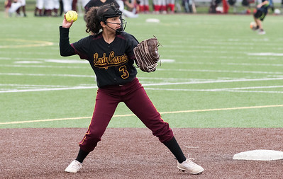 04/29/19  Wesley Bunnell | Staff  New Britain softball defeated Conard at Chesley Park on Monday afternoon. Xandra Silva (3) throws to first for the out.