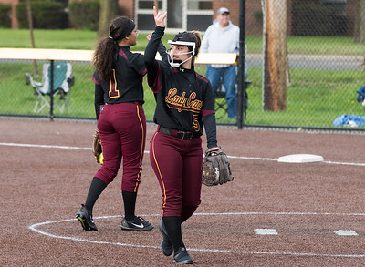 04/29/19  Wesley Bunnell | Staff  New Britain softball defeated Conard at Chesley Park on Monday afternoon.  Amanda Jacobs (5) signals two outs to her teammates.