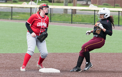 04/29/19  Wesley Bunnell | Staff  New Britain softball defeated Conard at Chesley Park on Monday afternoon. Naishka Perez (15) arrives uncontested at second base.
