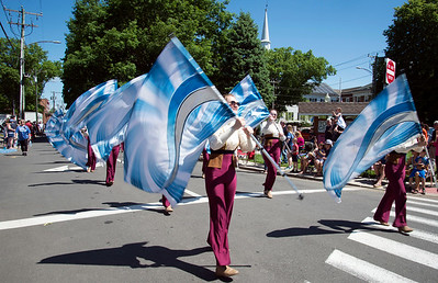 05/27/19  Wesley Bunnell | Staff  The Blue Knights Marching Band marches down Main St on Monday afternoon during Southington's Memorial Day Parade.