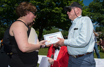 05/27/19  Wesley Bunnell | Staff  Bristol held Memorial Day ceremonies on Monday morning ending with a ceremony which presented World War II veterans with All Heart Awards from the city.  Navy veteran James Cleveland receives his award from Mayor Ellen Zoppo-Sassu.