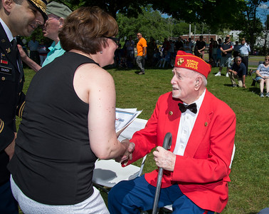 05/27/19  Wesley Bunnell | Staff  Bristol held Memorial Day ceremonies on Monday morning ending with a ceremony which presented World War II veterans with All Heart Awards from the city.  USMC veteran George Burns receives his award from Mayor Ellen Zoppo-Sassu.