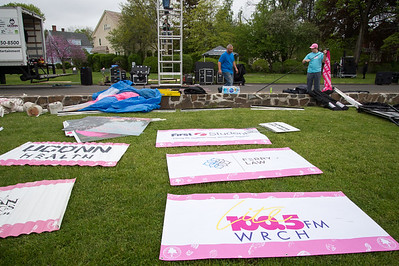 05/10/19  Wesley Bunnell | Staff  Signs lay on the ground ready to set up at the start/finish line on Friday afternoon in Walnut Hill Park in advance of Saturday's Race in the Park.  The race is to benefit the Connecticut Breast Health Initiative and is a yearly event.