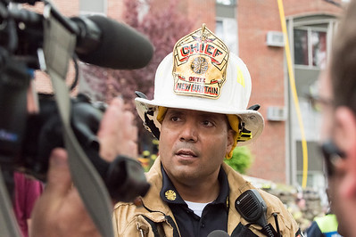 05/10/19  Wesley Bunnell | Staff  New Britain Fire Department, assisted by Bristol, Hartford and Meriden, responded to a fire in an apartment building at 180 Allen St on Friday afternoon which appeared to be located on the third floor.  Fire Chief Raul Ortiz speaks to the media.