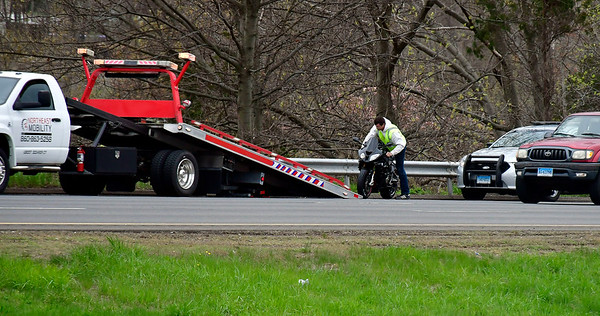 5/1/2019 Mike Orazzi | Staff The scene of a motorcycle crash near Exit 32 in the East bound lane of Route 84 in Southington on Wednesday afternoon.