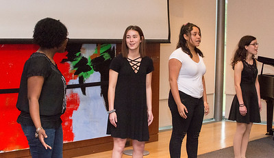 05/13/19  Wesley Bunnell | Staff  The Department of Mental Health and Addiction Services held a kickoff event as part of National Prevention Week 2019 at the New Britain Museum of American Art.  New Britain High School students including Sarah Colapietro 2nd L, Naylea Blanco & Leah Gaffney perform a song for the audience.