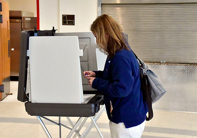 5/14/2019 Mike Orazzi | Staff Gina Leonetti while voting in Plainville's second attempt to pass the education portion of the budget, which failed last time and was reduced at the last council meeting.
