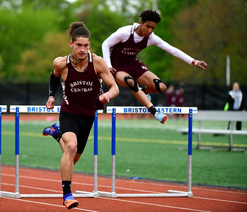 5/14/2019 Mike Orazzi | Staff Bristol Central's Jose Navedo in the 110 hurdles during Tuesday's city track meet at Eastern.