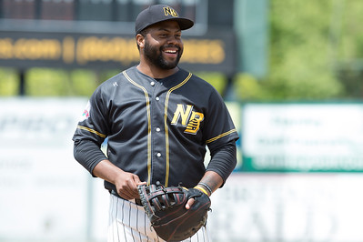 05/16/19  Wesley Bunnell | Staff  The Lancaster Barnstormers defeated the New Britain Bees 10-3 during an early 10:30 a.m. start featuring thousands of CSDNB school children in attendance. First baseman Jason Rogers (9).