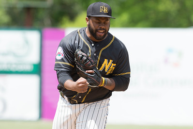 05/16/19  Wesley Bunnell | Staff  The Lancaster Barnstormers defeated the New Britain Bees 10-3 during an early 10:30 a.m. start featuring thousands of CSDNB school children in attendance. First baseman Jason Rogers (9) imitates the umpires strike call.