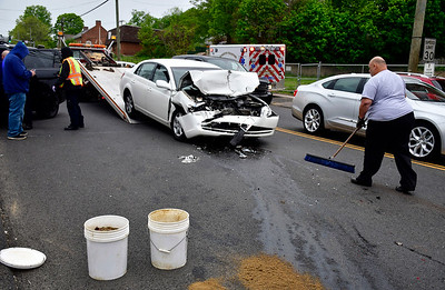 5/17/2019 Mike Orazzi | Staff The scene of a three-vehicle crash on Main Street in Terryville Friday afternoon. One was  transported from the scene and at least tow cars were towed.