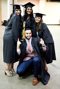 5/18/2019 Mike Orazzi | Staff CCSU graduates Victoria Vancleave, Meghana Kulkarni, Jhoselyn Jara and Jotty Alejandro Estrella on commencement day at the XL Center in Hartford on Saturday.