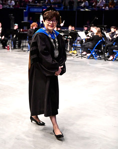 5/18/2019 Mike Orazzi | Staff Central Connecticut State University President Zulma R. Toro on commencement day at the XL Center in Hartford on Saturday.