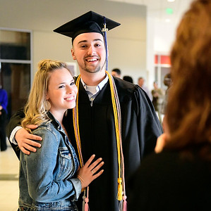 5/18/2019 Mike Orazzi | Staff Cassidy Considine and Andrew Pelletier on commencement day at the XL Center in Hartford on Saturday.