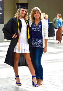 5/18/2019 Mike Orazzi | Staff CCSU's Courtney Goodall and her mom Penny Reola on commencement day at the XL Center in Hartford on Saturday.