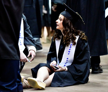5/18/2019 Mike Orazzi | Staff CCSU graduate Bridget Stover on commencement day at the XL Center in Hartford on Saturday.