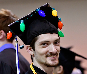 5/18/2019 Mike Orazzi | Staff CCSU graduate Adam Hocutt on commencement day at the XL Center in Hartford on Saturday.