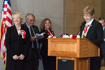 05/02/19  Wesley Bunnell | Staff  Polish Day at the Capitol, in its 28th year, took place at the State Capitol Building on Thursday morning which also commemorates the 228th anniversary of the Polish constitution. Halina Szeligowski, L, looks out at the audience as she is introduced by Rep.Tami Zawistowski before receiving her official citation. Szeligowski's efforts helped ensure the Pulaski Day Parade in NYC will be led by a contingent from Connecticut.