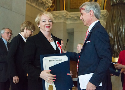 05/02/19  Wesley Bunnell | Staff  Polish Day at the Capitol, in its 28th year, took place at the State Capitol Building on Thursday morning which also commemorates the 228th anniversary of the Polish constitution. Halina Szeligowski, L, is congratulated by Rep. Peter Tercyak after receiving her official citation.