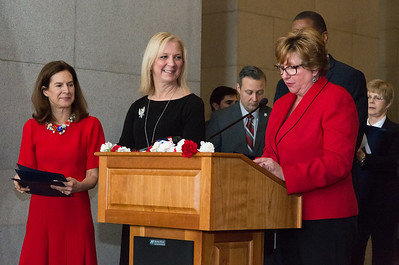 05/02/19  Wesley Bunnell | Staff  Polish Day at the Capitol, in its 28th year, took place at the State Capitol Building on Thursday morning which also commemorates the 228th anniversary of the Polish constitution. Laurie Taf Jackson is introduced by Rep. Catherine Abercrombie as Lt. Governor Susan Bysiewicz looks on, L. Jackson is a {araeducatgor at Cross St. School in Naugatuck as well as Deputy Mayor ad Burgess for the Borough of Naugatuck.