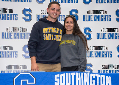 05/23/19  Wesley Bunnell | Staff  Southington High School soccer players Elijah Rodriguez and Logan Fischer pose for a photo after sining their letters of intent to play college soccer.