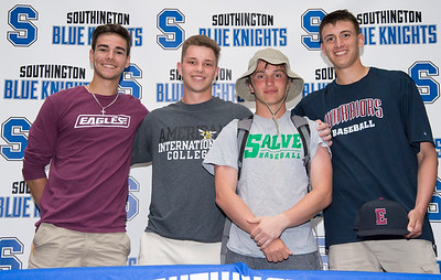 05/23/19  Wesley Bunnell | Staff  Southington High School baseball players Nico Gaudio, Kyle Leifert ,Bryce Worth and Ryan Henderson after signing their letters of intent to play college baseball.