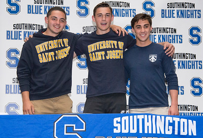 05/23/19  Wesley Bunnell | Staff  Southington High School soccer players Elijah Rodriguez, John Griffin and Joe Colaccino.