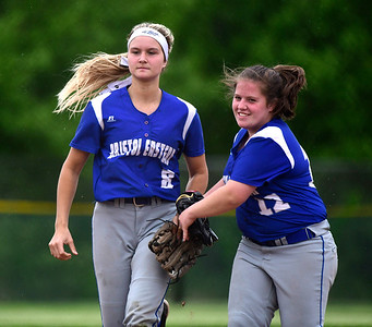 5/25/23/2019 Mike Orazzi | Staff Bristol Eastern's Zoe Lowe (8) and Riley Giblin (12) during a win over Central at BEHS Thursday afternoon.